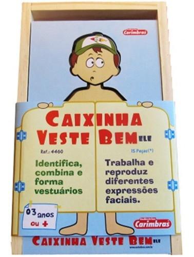Caixinha Veste Bem - Ele -  Expressão Corporal E Facial - Em Madeira