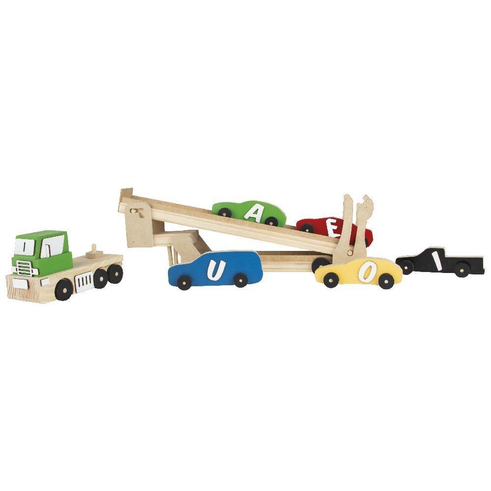 Caminhão Cegonha+cinco carrinhos com vogais/ em madeira