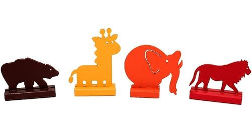Caminhão De Madeira + 4 Animais (elefante, Leão, Urso,girafa)