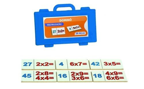 Dominó de multiplicação - 28 peças - em madeira