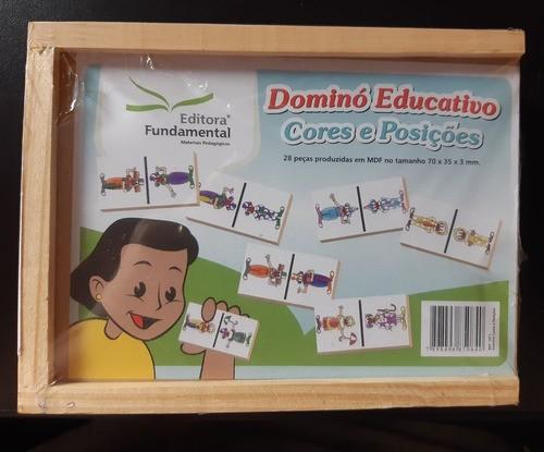 Dominó Educativo Cores E Posições - Em Madeira - 28 Peças