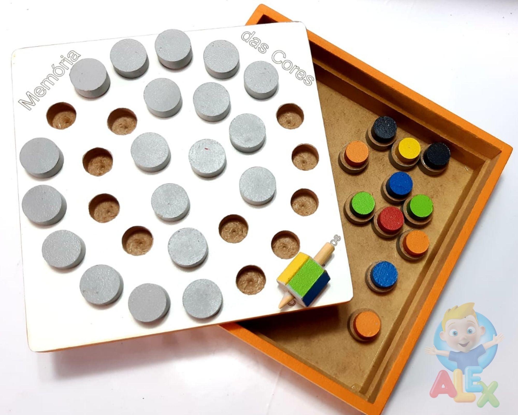 Memória de cores - estimula a  psicomotricidade - em madeira