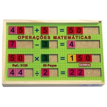 Operações Matemáticas - Adição, Subtração, Multiplicação E Divisão - Em Madeira