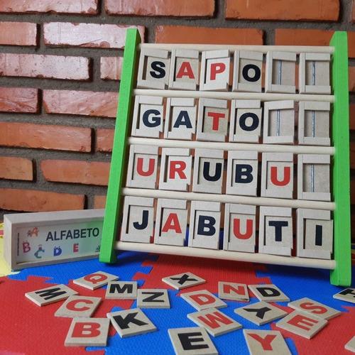 Painel De Alfabetização + Caixinha Com 40 Letras - Em Madeira