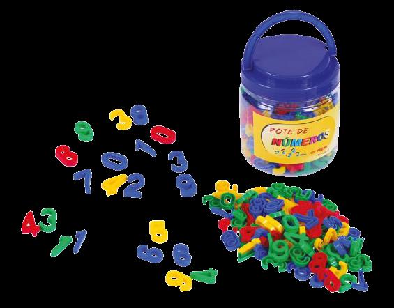 Pote Com Números -  Em Plástico - 180 Peças - Alfabetização