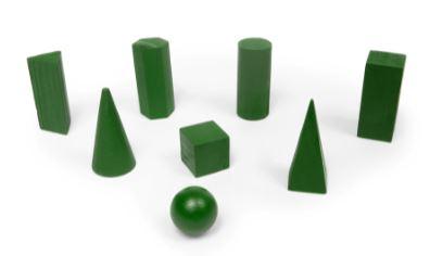Sólidos geométricos - 8 peças - em madeira - matemática