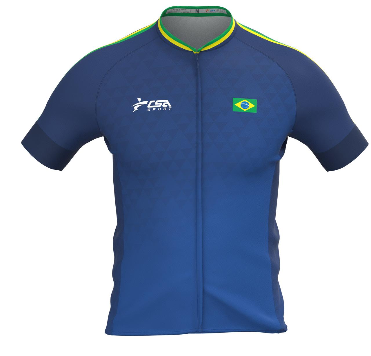 Camisa Ciclista Fast CSA Sport Feminina Brasil Blue