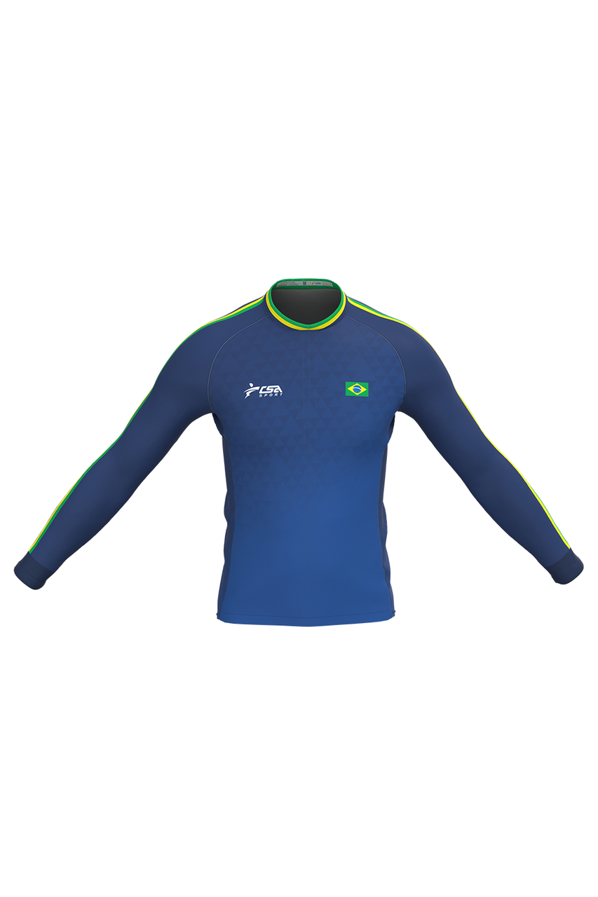 Camisa Ciclista Fast CSA Sport Feminina Brasil Blue Manga Longa