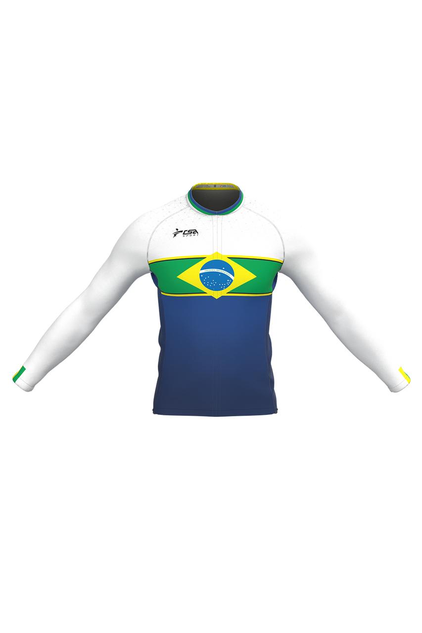 Camisa Ciclista Fast CSA Sport Feminina Brasil White Manga Longa
