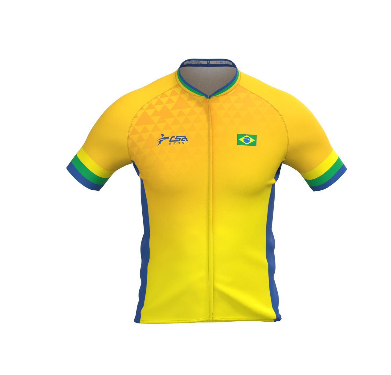Camisa Ciclista Fast CSA Sport Masculina Brasil Gold