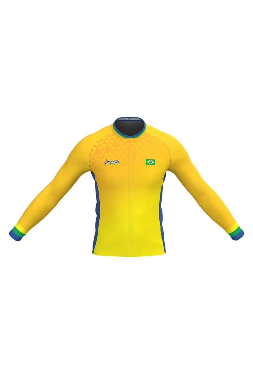 Camisa Ciclista Fast CSA Sport Masculina Brasil Gold Manga Longa