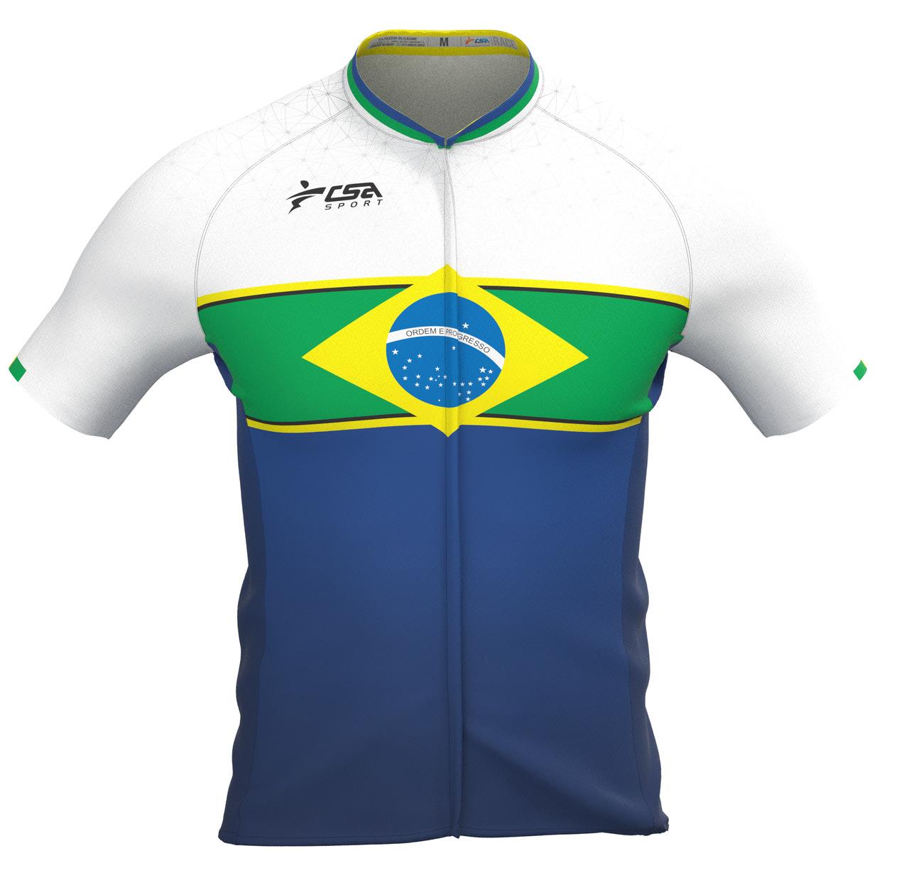 Camisa Ciclista Fast CSA Sport Masculina Brasil White