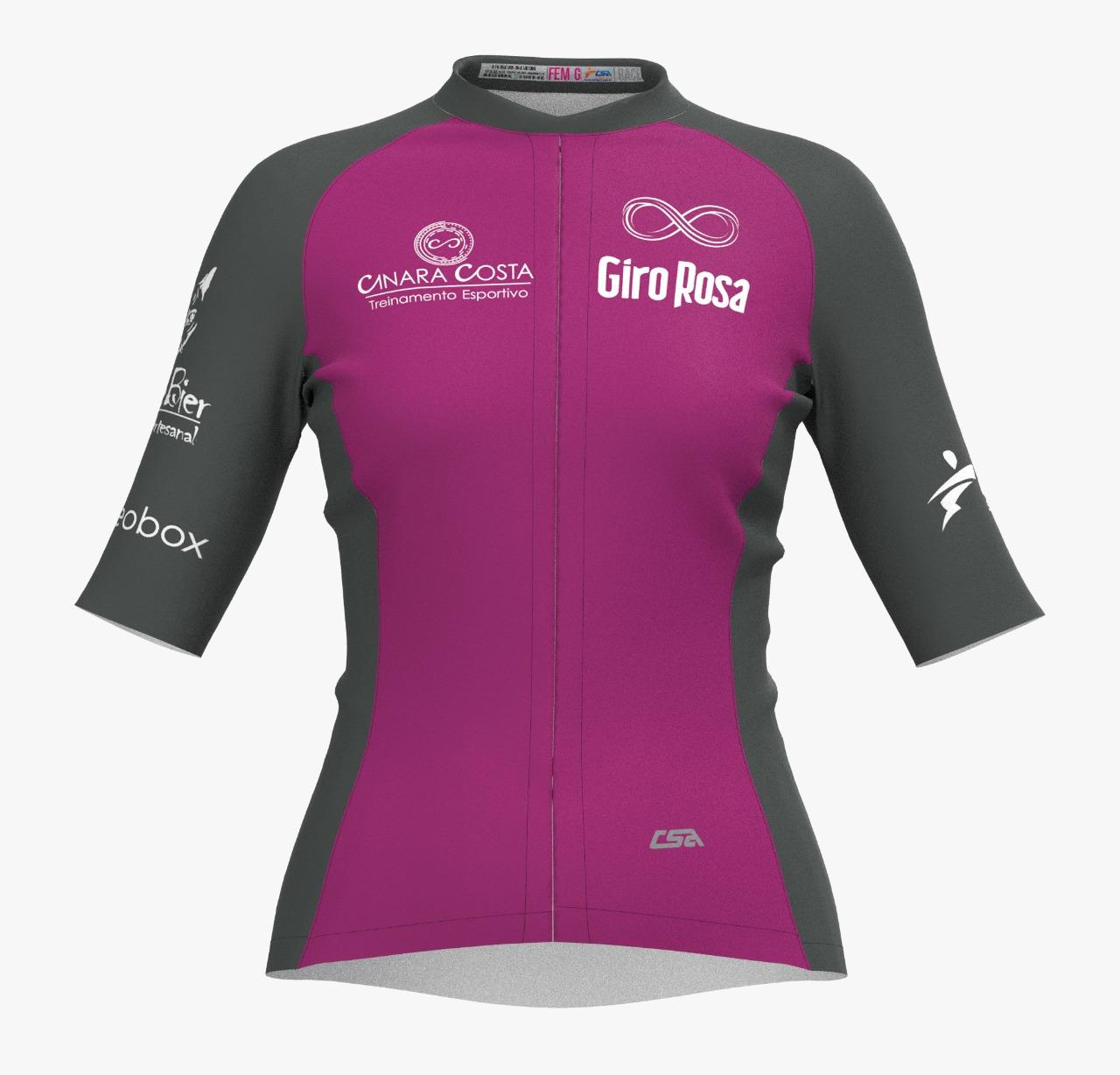 Camisa Ciclista Fast Giro Rosa Manga Curta Feminina