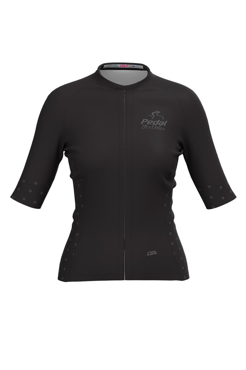 Camisa Ciclista Feminina Race Pedal Só Delas All Black