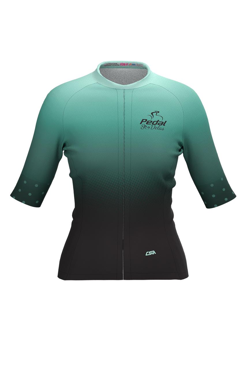 Camisa Ciclista Feminina Race Pedal Só Delas Green