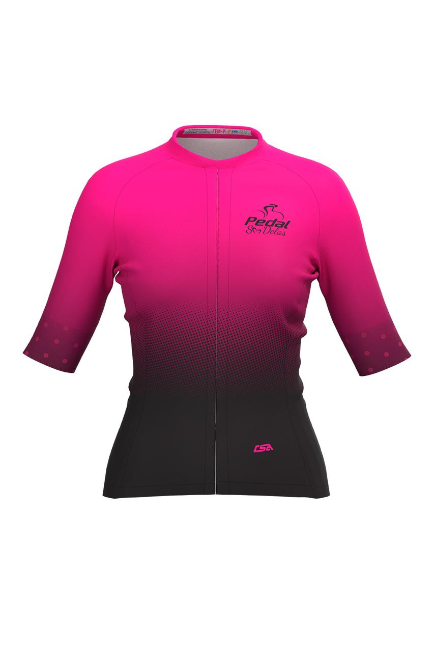 Camisa Ciclista Feminina Race Pedal Só Delas Pink