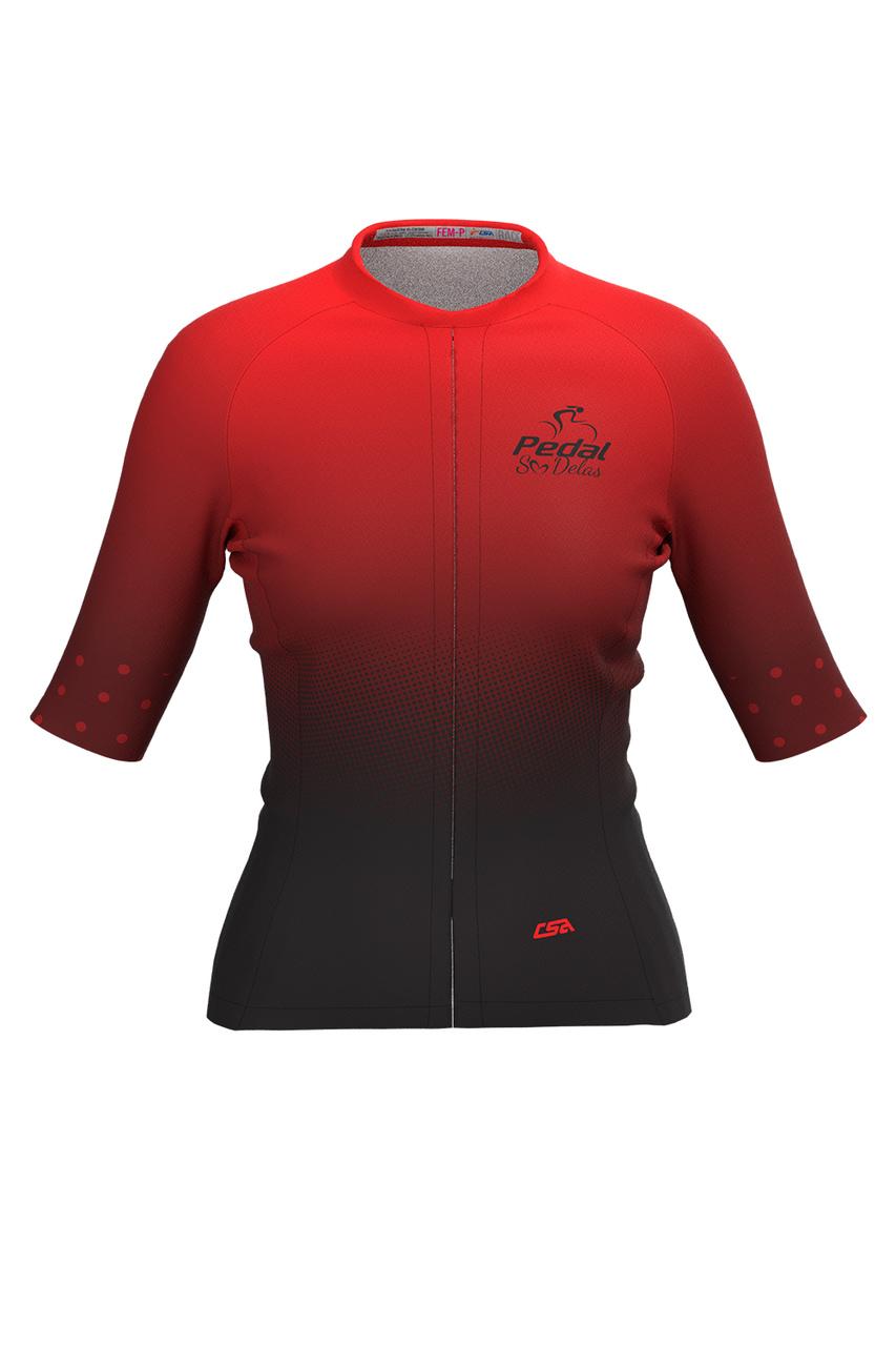 Camisa Ciclista Feminina Tour Pedal Só Delas Red
