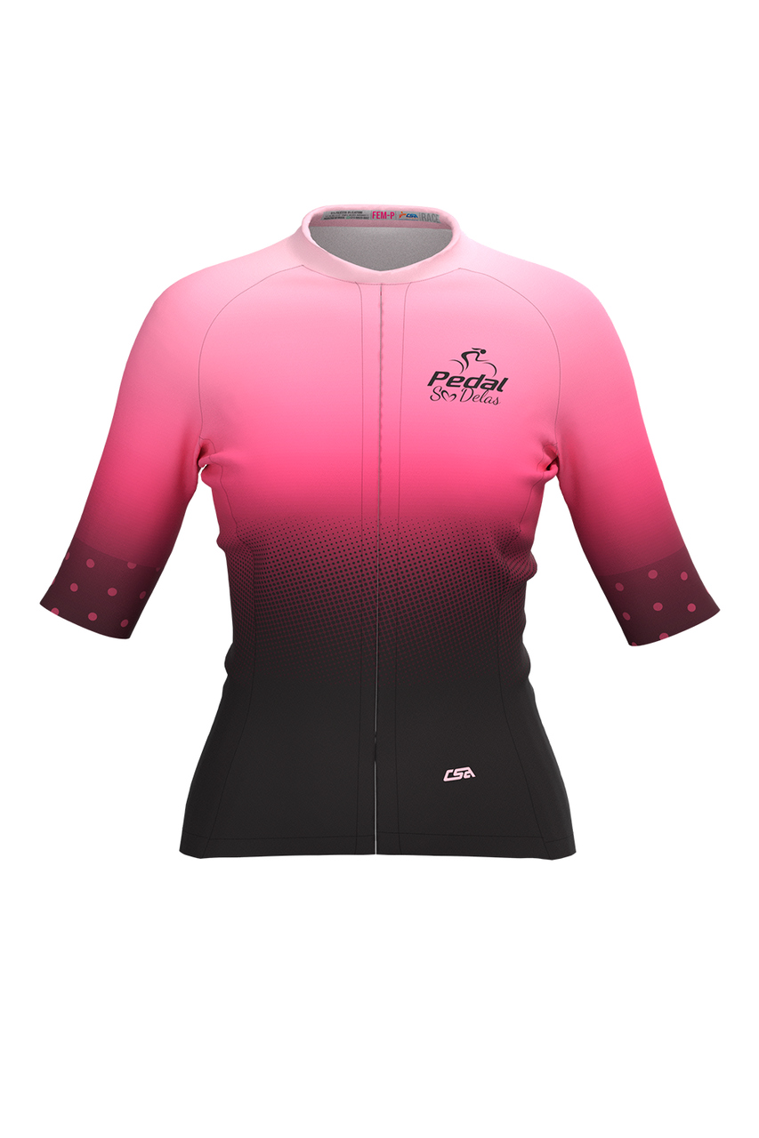 Camisa Ciclista Feminina Tour Pedal Só Delas Rosé