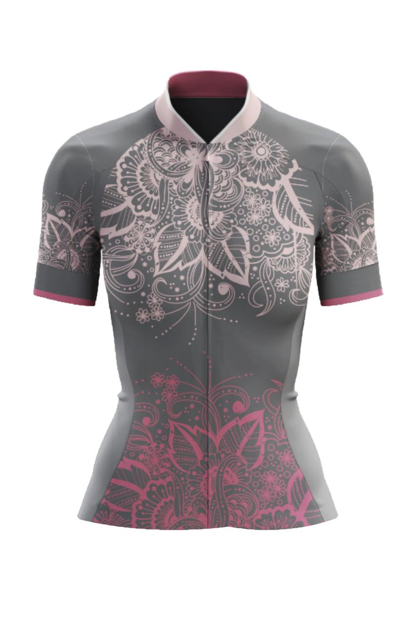 Camisa Ciclista Race CSA Sport Feminina New Flower Cinza
