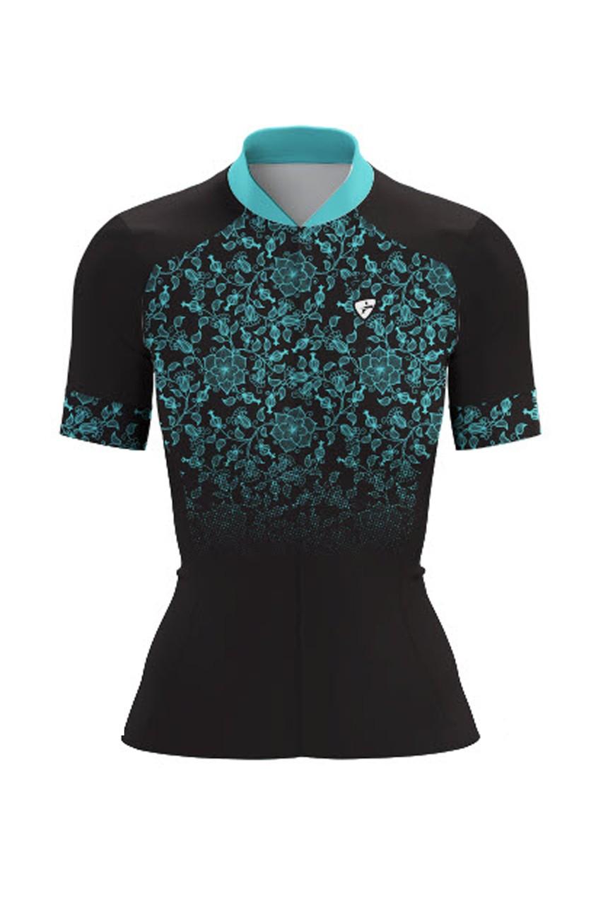 Camisa Ciclista Race CSA Sport Feminina Preto com Azul
