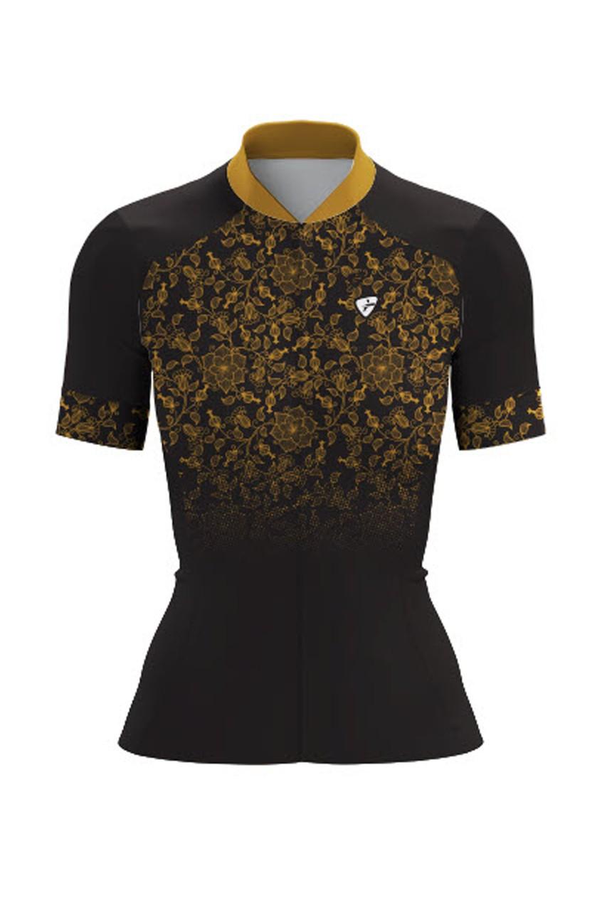 Camisa Ciclista Race CSA Sport Feminina Preto com Dourada