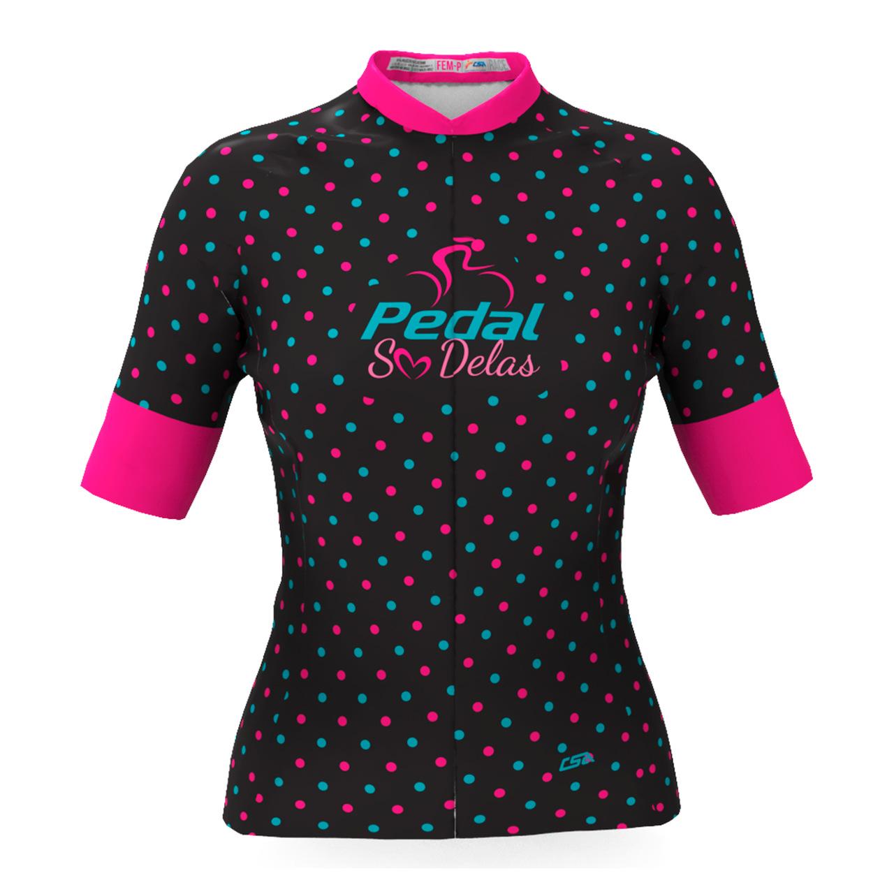 Camisa Ciclista Race Pedal Só Delas Feminina Preto-Poá