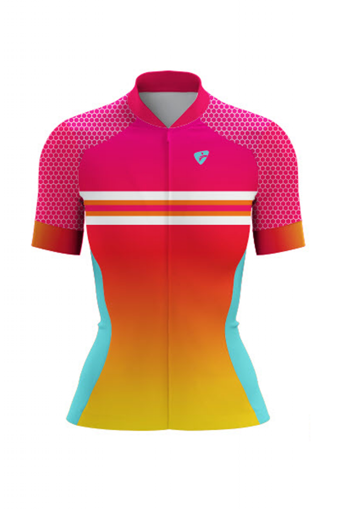Camisa Ciclista Tour CSA Sport Feminina Manga Curta Rainbow