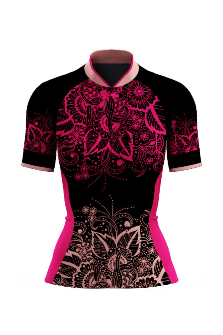 Camisa Ciclista Tour CSA Sport Feminina New Flower Preto Pink