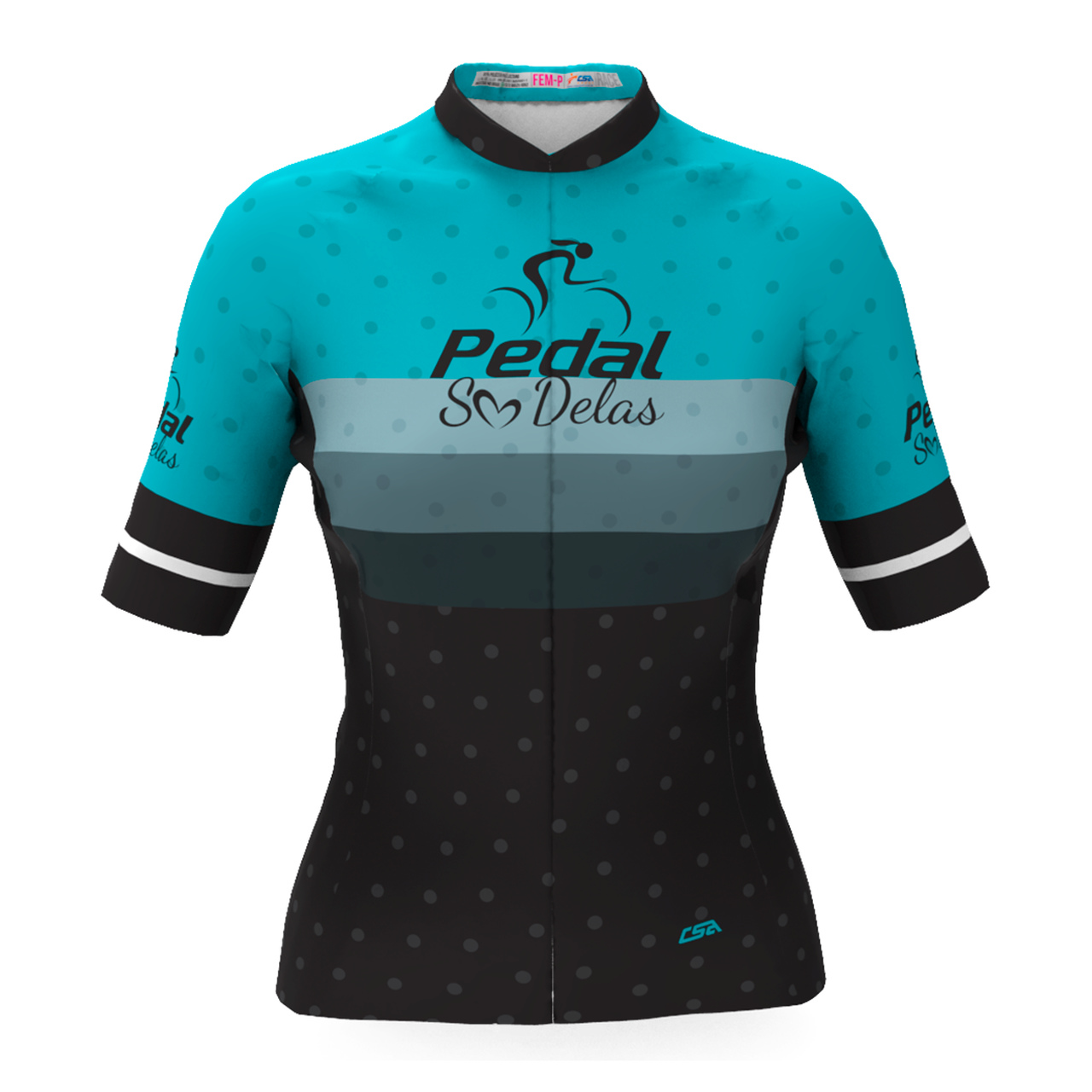 Camisa Ciclista Tour Pedal Só Delas Feminina Azul-Listras