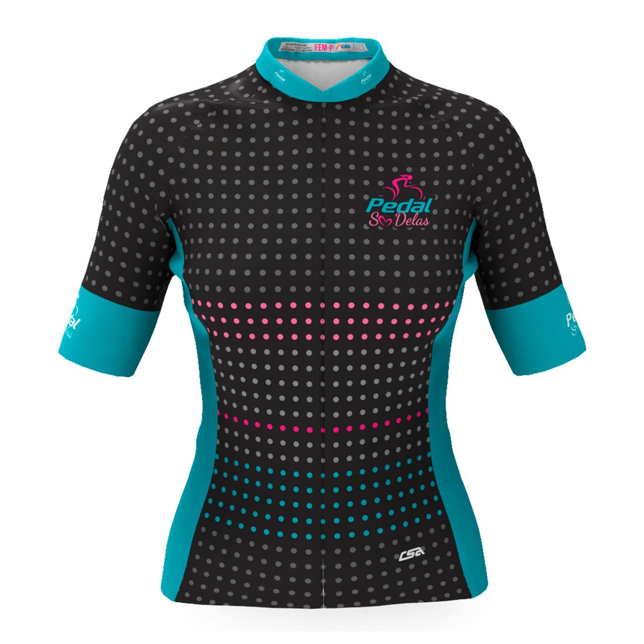 Camisa Ciclista Tour Pedal Só Delas Feminina Azul-Poá