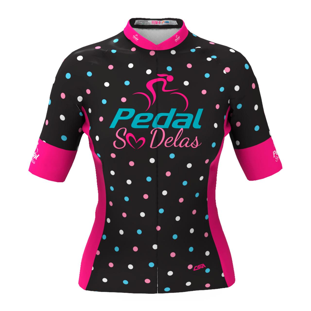 Camisa Ciclista Tour Pedal Só Delas Feminina Preto-Poá