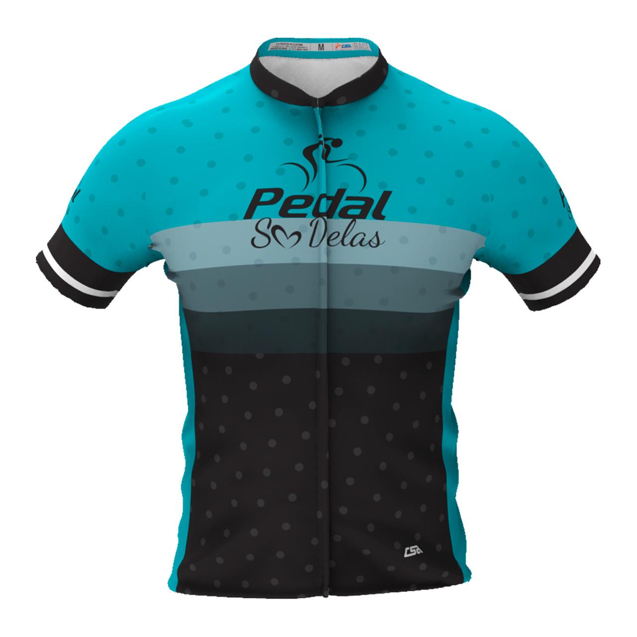 Camisa Ciclista Tour Pedal Só Delas Masculina Azul-Listras