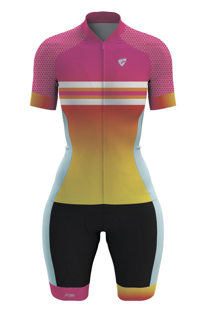 Macaquinho Ciclista Race Feminino CSA Sport Rainbow