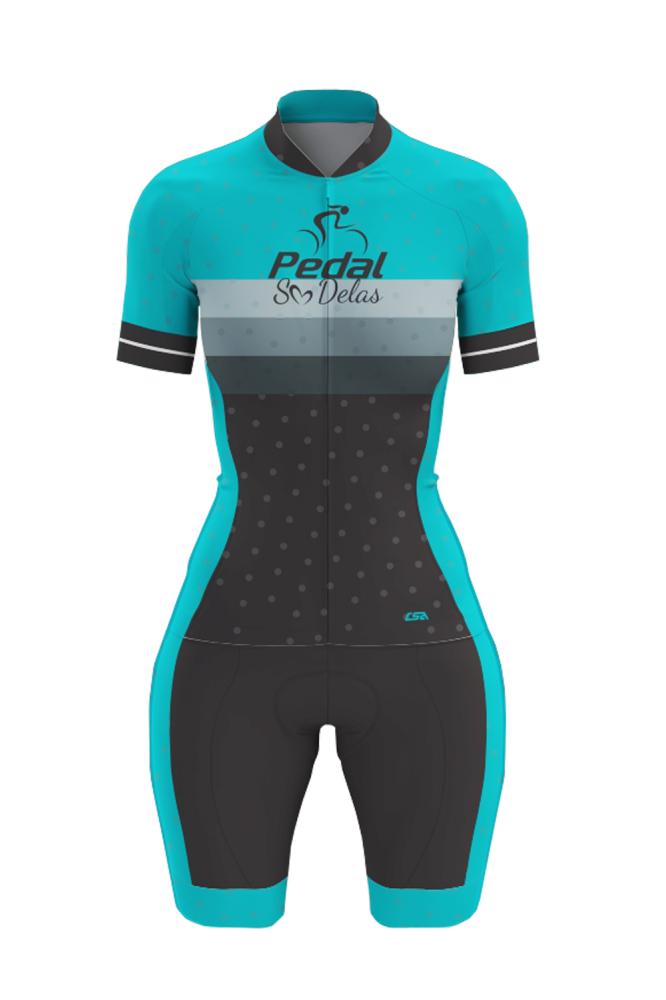 Macaquinho Ciclista Race Pedal Só Delas Feminino Azul-Preto