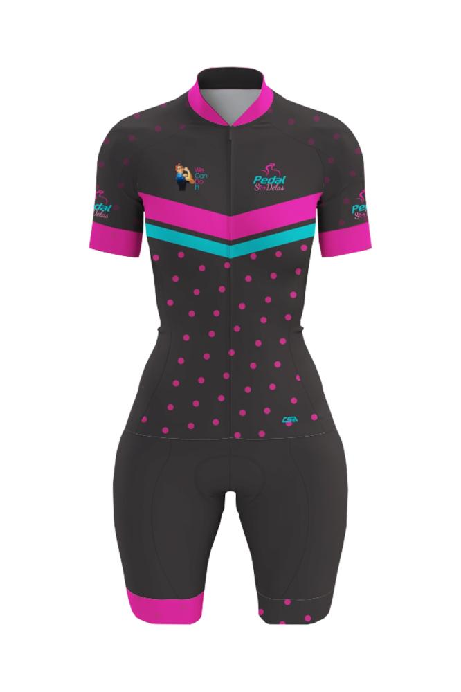 Macaquinho Ciclista Race Pedal Só Delas Feminino Preto