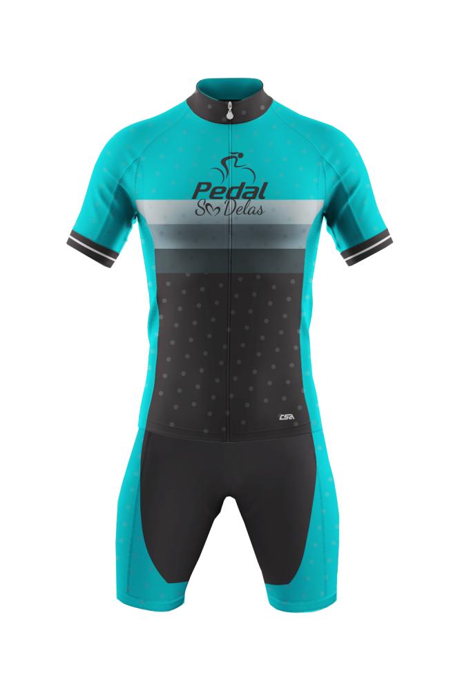Macaquinho Ciclista Race Pedal Só Delas Masculino Azul-Preto