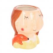 Enfeite Decorativo Menina De Cerâmica 9cm