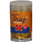 Glitter Poliéster Tiras Gliter Ouro Pote C/ 2g