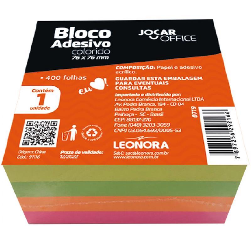 Bloco de Recado Adesivo Colorido 76x76mm 400 Folhas