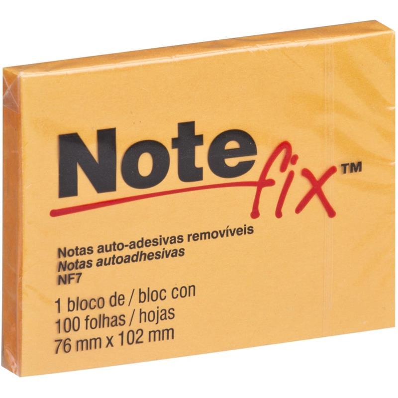 Bloco de Recado Autoadesivo Notefix Laranja 76x102mm 100Fls