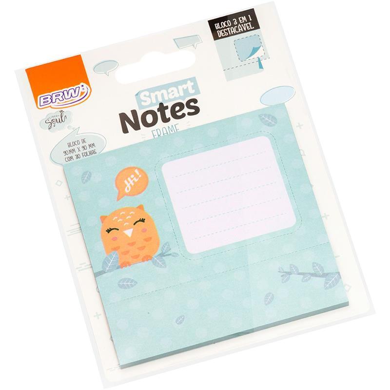 Bloco de Recado Autoadesivo Smart Notes Coruja 3 em 1 30Fls