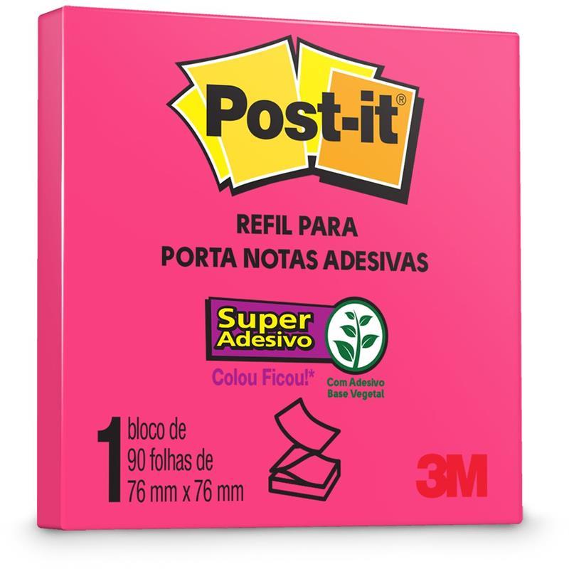 Bloco de Recado Rosa Post-It Refil P/Pop Up C/90 Folhas 76x76mm - 3M