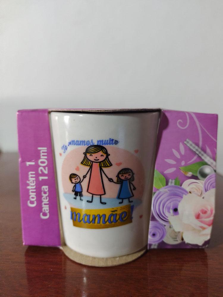 Caneca Porcelana Temática Querida Mãe Variadas 120ml