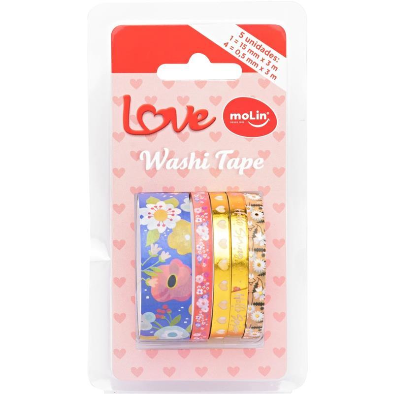 Fita Adesiva Decorada Washi Tape Love 15/ 0,5mm X 3m - Molin