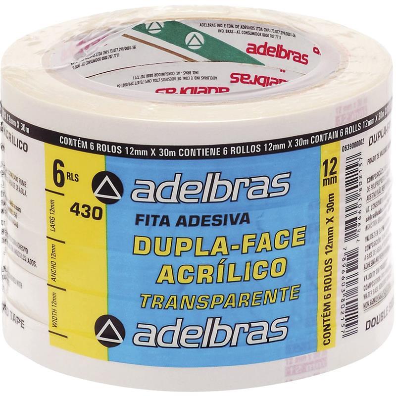 Fita Dupla Face Polipropileno 12mm X 30m Adelbras