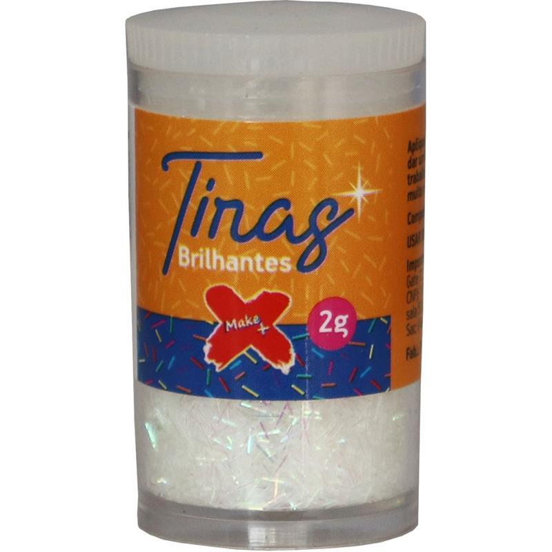 Glitter Poliéster Tiras Gliter Branco Pote C/ 2g