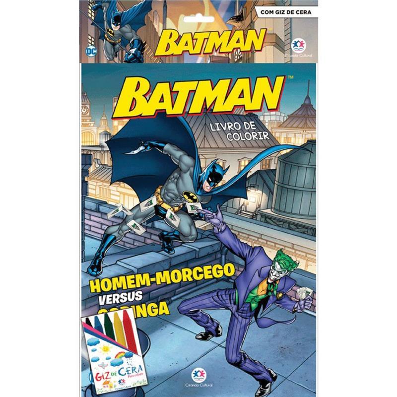 Livro Infantil Colori Batman C/ Giz de Cera