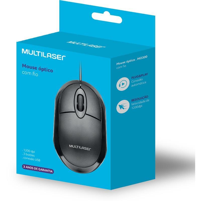 Mouse Óptico USB 1200 DPI Classic Preto c/Scroll