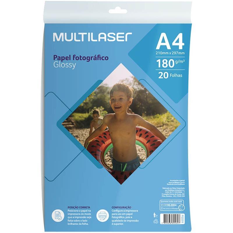 Papel Fotográfico Inkjet A4 Glossy 180g/m² Multilaser 20Fls
