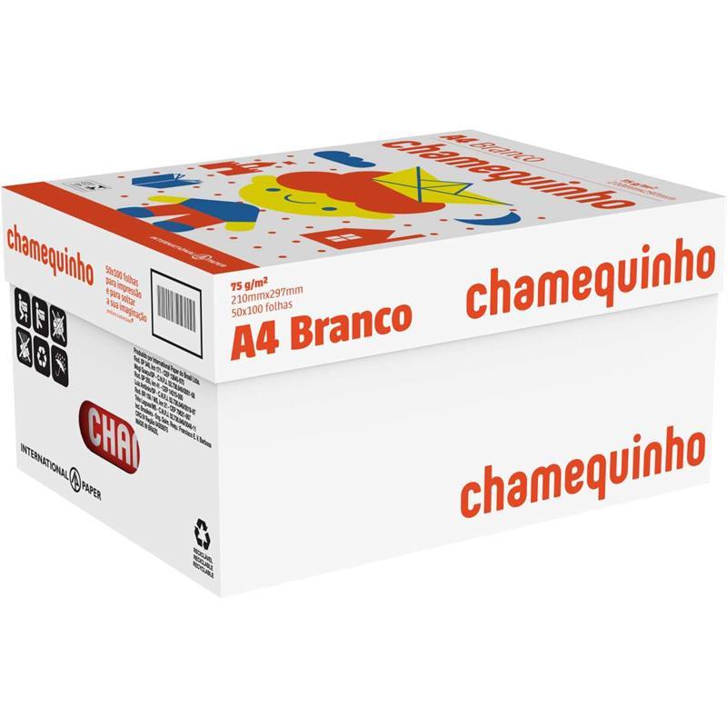 Papel Sulfite A4 Chamequinho 75g/m² Branco - 100Fls